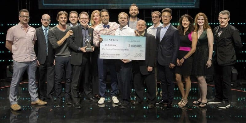 Cortex Design founder Dylan Horvath (far left) with Team CLOUD DX on-stage at the 2017 XPRIZE Awards in Hollywood, California.