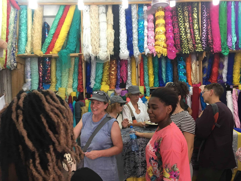 designers visit zanzibar fabric market