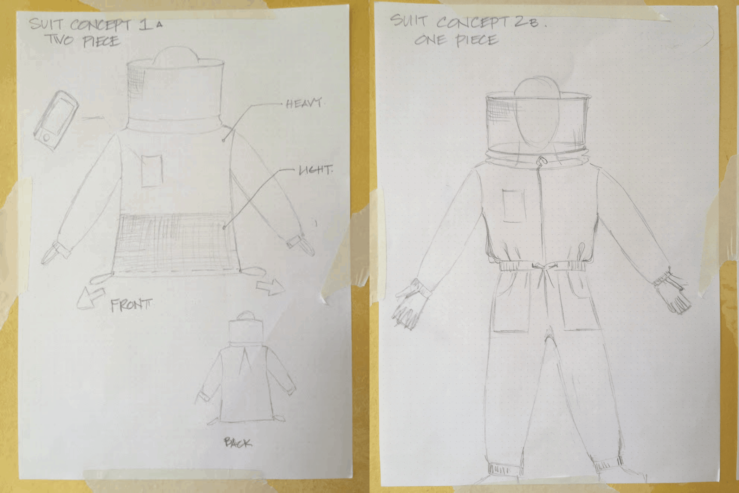 concept designs A and B of suits